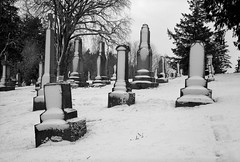 In a Cemetery, Portland (austin granger) Tags: cemetery portland oregon snow winter headstones film gw690