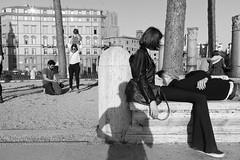 (We Three) (Robbie McIntosh) Tags: leicam9p leica m9p rangefinder streetphotography 35mm leicam autaut candid strangers leicaelmarit28mmf28iii elmarit28mmf28iii elmarit 28mm man blackandwhite monochrome bw rome roma shadow