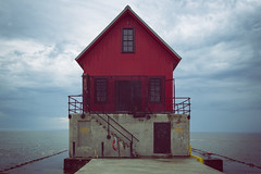Look Ma, No Catwalk (matthewkaz) Tags: grandhaven pier grandhavenlighthouse lighthouse light lakemichigan lake water greatlakes sky clouds nocatwalk michigan puremichigan 2018