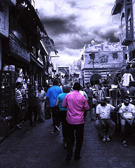 "Khan El Khalili, Egypt (""What's in the box?!"") Tags: blackandwhite bw fineart colorsplash pink egypt cairo africa clouds architecture buildings portraits abstract surreal"