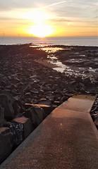 Coastal Path - Newbiggin-By-The- Sea (P) (Gilli8888) Tags: cameraphone samsung s7 newbigginbythesea newbiggin northeast coast seaside northumberland sunrise shoreline seascape sun sky water rocks beach turbines windturbines path northsea