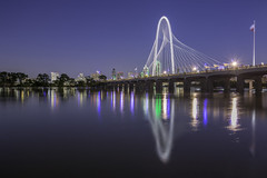 Margaret Hunt Hill Bridge Over Trinity River (Alt) (Mabry Campbell) Tags: calatrava dallas dallascounty margarethuntbridge margarethunthill margarethunthillbridge santiagocalatrava trinityriver architecture bluehour bridge cityscape colorimage fineartphotography flood flooding image longexposure nopeople photo photograph photography reflection reflections river skyline twilight water f56 mabrycampbell june 2015 june12015 20150601h6a7203 24mm 200sec 100 tse24mmf35lii