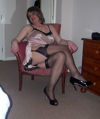Manchester 040209 looking dodgy in the Britannia Hotel (janegeetgirl2) Tags: transvestite crossdresser crossdressing tgirl tv ts trans jane gee manchester canal street 2009 stockings heels silk chemise nightie