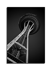 The Space Needle (Daniel.Burns) Tags: perspective monochrome blackandwhite towers pacificsciencecenter famousarchitecture pacificnorthwest washingtonstate building iconicbuildings architecture famousbuildings seattlespaceneedle seattle