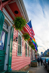 Flags at Bourbon st. (gemapozo) Tags: flags bourbonstreet d850 nikon usa frenchquarter neworleans ニューオーリンズ ルイジアナ州 アメリカ合衆国 us afsnikkor2485mmf3545gedvr フレンチクォータ 旗