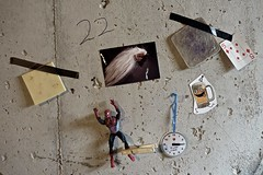 Delusions of Happy Hour (ricko) Tags: wall cheese ham spiderman photograph 5ofdiamonds beer winetime clothspin 65365 2019 22