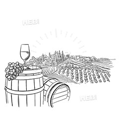 vineyard landscape with glass illustration (Hebstreits) Tags: alcohol art background barrel bottle branch bunch cheese collection design drawing drawn drink farm field food france fruit glass grape grapes graphic hand harvest illustration isolated italy label landscape leaf menu nature old pattern plant red retro rural set sketch vector village vine vineyard vineyards vintage white wine winery wooden
