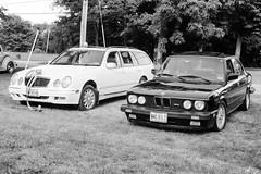 2001 Mercedes E320 Wagon & 1988 BMW M5 (JBAdams) Tags: 1959nikonf 35mmfilm bw bmw bmwm5 fujiacros100 maine mercedes mercedese320 mercedesbenz nikkors502 plustekopticfilm120 automobile availablelight blackandwhite car film manualfocus wwwjonathanbadamscom mercedesw210 50mmf2s