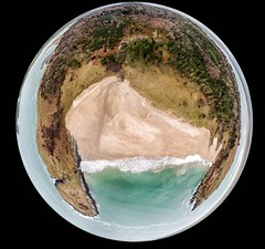 Lucky Shell Beach (mickreynolds) Tags: wildatlanticway beach ards tiny planet ocean sand forest drone donegal ireland