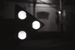 This way --> (iroc409) Tags: minolta xk rokkor 50mm ilford hp5 film 35mm blackandwhite bw bokeh f14 industrial marquee flashing lights dock