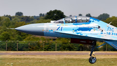 Flanker (Bernie Condon) Tags: riat airtattoo tattoo ffd fairford raffairford airfield aircraft plane flying aviation display airshow uk sukhoi su27 flanker jet fighter bomber warplane military strike ukraine ukrainianairforce