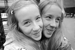 Twin Sisters (Steve Lundqvist) Tags: light girl life beautiful beauty hair contact people model young cute shooting frame pose posed ritratto eyes portrait double copy mirror reflection twins twin copenhagen denmark sister