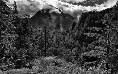 Low Clouds and Mountain Peaks (Black & White)