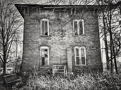 stuck in hicksville...(HMM) (BillsExplorations) Tags: hicksville abandoned abandonedhouse shuttered forgotten oncewashome ohio discarded ruins monochromemonday hmm blackandwhite snapseed abandonedohio