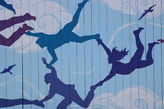 Hold Fast (Karen Pincott) Tags: lowerhutt streetart art painting newzealand artists flying figures silhouettes sky birds clouds artiststruanashby artistericaduthie wellingtonregion tapeartnewzealand