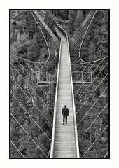 Benni Raich Hängebrücke (Pitztal-Austria) (jeilmer) Tags: noiretblanc sw schwarzweis bridge brücke benniraichbrücke hängebrücke seile tirol austria pitztal schlucht
