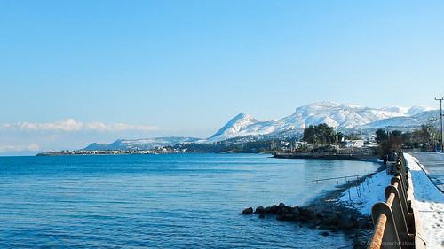 Snow over the coastline.