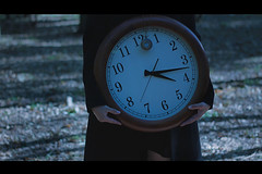 tempus fugit* (Wolf's Kurai) Tags: wolfkurai wolfskurai photography melancholy time clock female hands clocks trees forest light nature darkart darkartist
