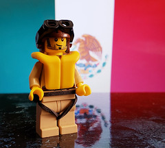 "Pilot, 201st Fighter Squadron ""Aztec Eagles"" (brickhistorian) Tags: war world wars ww2 wwii pilot fighter squadron mexico mexican plane airplane airforce america allies minifig minifigure military brick bricks history pacific battle eagle aztec lego legos"