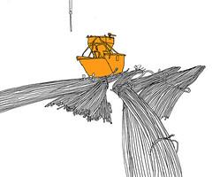 Technologie Park, Karlsruhe, November 2018 (stevefaradaysketches) Tags: urbansketch urbansketchers usk inkdrawing illustration onlocation karlsruhe construction buildingsite steelrods skip essarileguimearchitects lindertechnologiecampus art