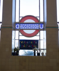Welcome to East Finchley (London Less Travelled) Tags: uk unitedkingdom britain england london city urban finchley eastfinchley tube underground sign station roundel welcome