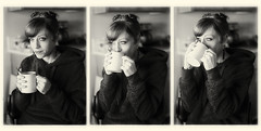 The Coffee Sequence (Robert_Brown [bracketed]) Tags: robertbrown portland oregon photography blackandwhite photograph woman pretty beautiful sweater kitchen coffeecup coffee cup drinking drink tryptich bw sequence domestic indoor