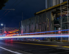 mission street construction detour (pbo31) Tags: bayarea california nikon d810 color night dark black city february 2019 boury pbo31 sanfrancisco urban lightstream motion traffic roadway soma construction missionstreet muni bus