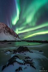 One Night (Wim Air) Tags: aurora lofoten northern light wimairat night green beach snow norway