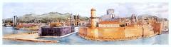 Marseille - Provence - France (guymoll) Tags: googleearthstreetview marseille france provence panoramique panoramic mucem port cathédrale aquarelle watercolour watercolor aguarela acuarela croquis sketch