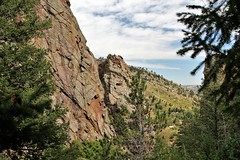 Cliffs Crawling With Climbers (Jan Nagalski) Tags: mountain mountains cliffs rock rockclimber climbing mountainclimbing treespine valley eldoradocanyon statepark colorado scenery mountainscape landscape jannagalski jannagal