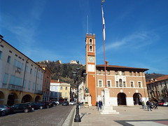 Mastorica Italy - February 2019 (sean and nina) Tags: mastorica italy italia eu europe european walled city history historical chess board castle fort fortress stone turret tower church flag main square freedom blue sky italian street photography photograph building architecture statue sign tourist tourism people persons place candid public