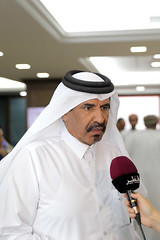Bin Twar speaking to the media (Qatar Chamber) Tags: qatar oman chamber commerce delegation business