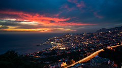 Funchal (Bastian.K) Tags: madeira vm35 funchal portugal voigtlander sunset purple sky red orange lighttrail blue hour blaue stunde himmel meer kreuzfhrt cruise
