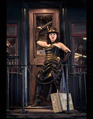 Tail Gunner (Whitney Lake) Tags: pinup costume gun woman girl caboose train vintagw retro fantasy cosplay steampunk