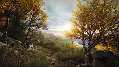 Vanishing of Ethan Carter (screenreel) Tags: vanishingofethancarter unrealengine ue4 graphics gpu pc videogame nature grass tree green yellow autumn sky sun clouds leaf ground road mystic detective day wood forest railroad river mountains horizon light metal streetlight building abandoned stone particles camera angle screenshot blur