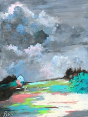 Sweetness in the Storm (Kerri Blackman) Tags: abstractlandscape paintingonpaper originalpainting sky clouds countryside skyscape stormclouds springcolors