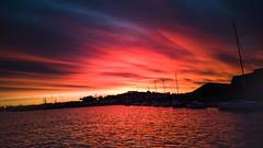 Lever de soleil, La Seyne sur mer, 8 Février 2019 (Enzo R.) Tags: sunrise lever de soleil la seyne sur mer méditerranée mediteranean sea water eau red rouge orange sky ciel clouds nuages contrast contraste colors couleurs boats bateaux
