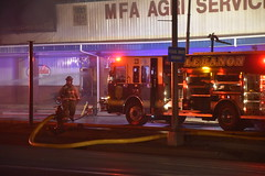 Fire - MFA Agri Services (Adventurer Dustin Holmes) Tags: firefighting fire mfa mfaagriservices lacledecounty lebanonmo lebanon lebanonmissouri missouri emergency event events news photography structure business building night february 2019 downtown smoke smoky smokey lowlight firedept firedepartment fireengine firetruck responders firstresponders emergencyvehicle emergencyvehicles vehicle vehicles outdoor burned burning firefighters firefighter truevalue damage damaged destroyed hydrant firehydrant people