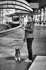 What's Going On Over There? (whosoever2) Tags: uk united kingdom gb great britain england nikon d7100 train railway railroad march 2019 york yorkshire station woman dog class185 tpe transpennine express mobile cell phone