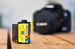 Still life - Film and camera (Martyn.Hayes) Tags: stilllife wood camera canon nikon bokeh outoffocus shallow dop depthoffeild f18 film jacobs retro history crate slr dslr photography photo photos negative filmreel filmstrip hobby pasttime