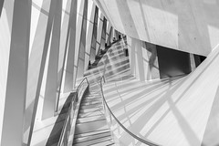 light-flooded (Blende1.8) Tags: highkey architecture modernarchitecture contemporaryarchitecture modernearchitektur treppe stair stairs interior light lightflooded steps shadow shadows stuttgart museum indoor ilce7rm2 24105mm sel24105g a7rii a7rm2 sony alpha monochrome monochrom mono europe germany carstenheyer licht hell raum