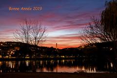 Voeux 2019 (Lucille-bs) Tags: europe france bourgogne côtedor dijon lackir crépuscule coucherdesoleil lac couleur voeux2019 2019 eau nature
