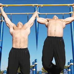 pullups (ddman_70) Tags: shirtless pecs abs muscle workout outdoor pullups calisthenics sweatpants