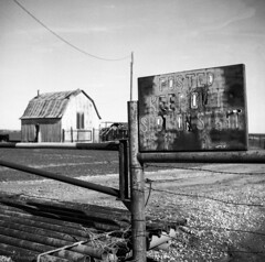 Shot on Site (Nathan Hillis Photography) Tags: sign film kodak tmax 400 analog 120mm tlr oklahoma custer county country rural countryroad blackandwhite monochrome