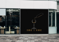 Mockup of a restaurant wall signage (Nazish Shah) Tags: ad advertising board brand business cafe coffeeshop commercial exterior logo marketing mockup poster promotion restaurant sign signage template wall