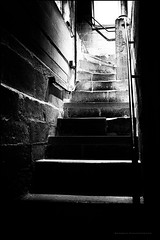 Organ loft stairs (G. Postlethwaite esq.) Tags: bw southwellminster unlimitedphotos blackandwhite church handrail monochrome organloft photoborder stairs stone