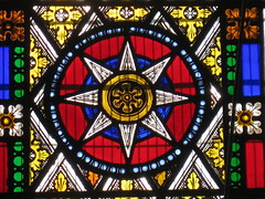 Detail of a Non-Figurative Stained Glass Window by Ferguson and Urie; the Former Saint George's Presbyterian Church - Chapel Street, St Kilda East (raaen99) Tags: fergusonandurie fergusonanduriestainedglass fergusonurie fergusonuriestainedglass floral flower blue red green yellow glass victorianstainedglass quarryglass leadlight leadlightglass diaperpattern pattern nineteenthcenturystainedglass 1880 1880s floralpattern saintgeorgespresbyterianchurch saintgeorgesunitingchurch saintgeorgeschurch saintgeorgesstkildaeast saintgeorgeseaststkilda stgeorgespresbyterianchurch stgeorgesunitingchurch stgeorgeschurch stgeorgesstkildaeast stgeorgeseaststkilda unitingchurch presbyterianchurch presbyterian eaststkilda stkildaeast chapelstreet chapelst church placeofworship religion religiousbuilding religious melbourne nineteenthcentury victorian victoriana 19thcentury victoria australia gothicrevivalarchitecture gothicarchitecture gothicrevivalchurch gothicchurch gothicbuilding gothicrevivalbuilding ecclesiastical gothicrevivalstyle gothicstyle architecturallydesigned albertpurchas architecture building window stainedglass stainedglasswindow lancet lancetwindow star starpattern detail