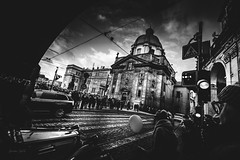 Crowd on the streets (Soren Wolf) Tags: black white bw blackandwhite prague city street people walk walking lamp lamps car cars czech republic clouds cloudy day monochrome road building sign sky sidewalk architecture crowd