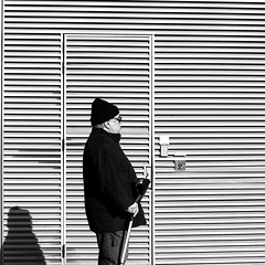 Taking his time (pascalcolin1) Tags: paris13 homme man lumière light soleil sun ombre shadow mur wall canne bonnet stripes cane cap photoderue streetview urbanarte noiretblanc blackandwhite photopascalcolin 50mm canon50mm canon