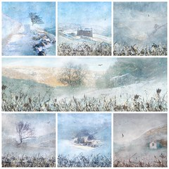 Winter Wonderland - Swaledale (Sylvia Slavin ARPS (woodelf)) Tags: explored inexplore explore dales yorkshiredales yorkshire pennineway coasttocoast walk app collage swale swinnergill crackpothall keld muker swaledale cold blue painterly textures snowing snow winter penf olympus fineart art